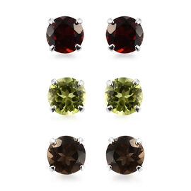 Set of 3 - Hebei Peridot, Mozambique Garnet, Brazilian Smoky Quartz Stud Earrings (with Push Back) i