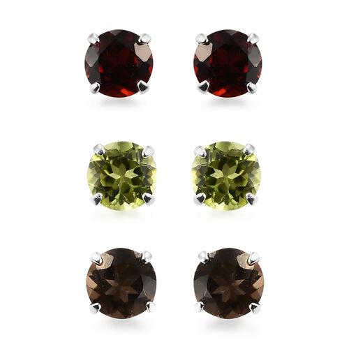 Set of 3 - Hebei Peridot, Mozambique Garnet, Brazilian Smoky Quartz Stud Earrings (with Push Back) i