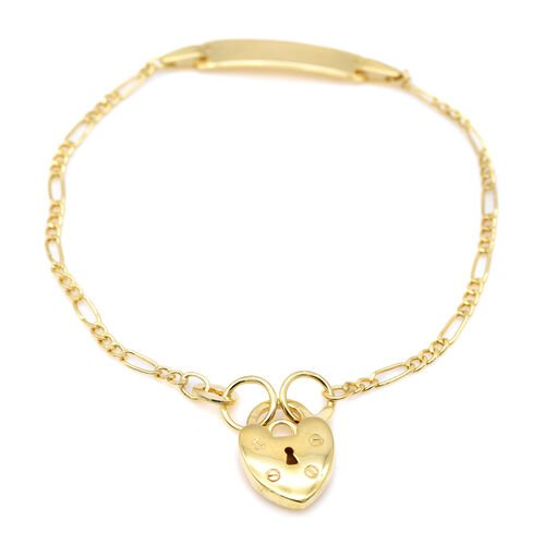 9CT Gold 50 Hollow Figaro  ID Bracelet with Padlock, Size 6 Inch