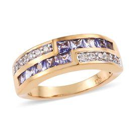 Tanzanite (0.90 Ct),Cambodian Zircon 14K Gold Overlay Sterling Silver Ring  1.000  Ct.