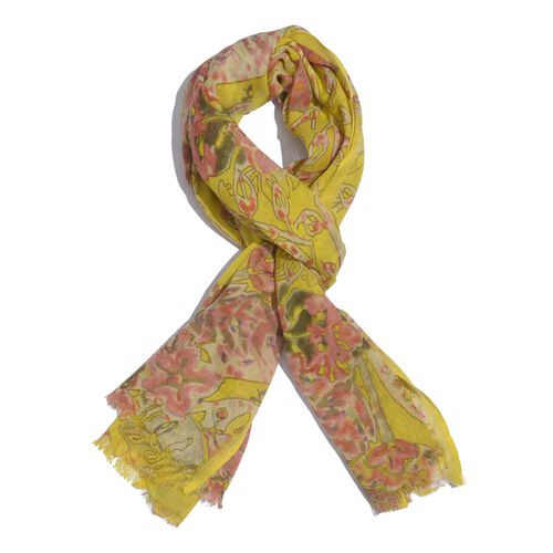 Yellow and Multi Colour Floral Printed Scarf (Size 180x70 Cm)
