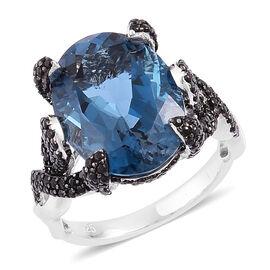 Designer Inspired- London Blue Topaz (Ovl 11.25 Ct), Boi Ploi Black Spinel Cocktail Ring in Rhodium