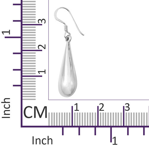Designer Inspired- High Polished Sterling Silver Raindrop Hook Earrings