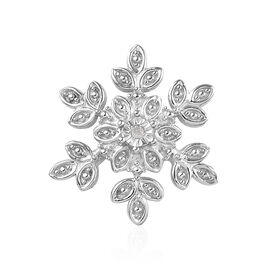 Diamond Snowflake Floral Pendant in Platinum Plated Silver