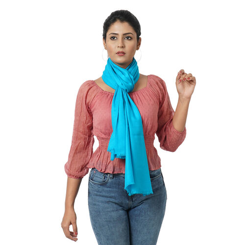 100% Cashmere Wool Turquoise Colour Scarf (Size 190x68Cm)