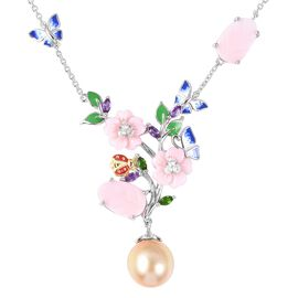 Jardin Collection - Golden South Sea Pearl and Multi Gemstone Enameled Necklace (Size 18) in Two Ton