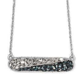 Blue and White Diamond (Bgt) Necklace (Size 18) in Platinum Overlay with Blue Plating Sterling Silve