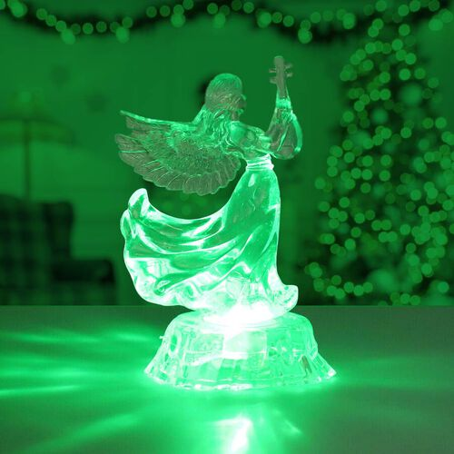 Christmas Decoration- LED in-bulit Crystal Angel Holding A Flute(Batteries not included)
