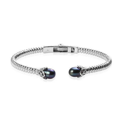 Freshwater Peacock Pearl Cuff Bangle in Platinum Plated 7.5 Inch