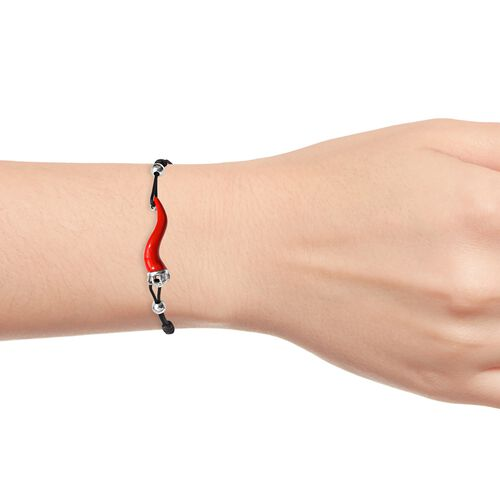 GP Red Chilli Bracelet (Size 6.5-9 Adjustable), Blue Sapphire in Platinum Overlay Sterling Silver