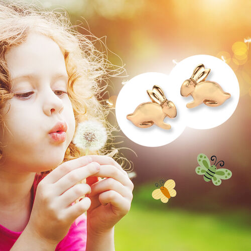 Bunny Stud Earrings for Kids in Gold Plated Silver