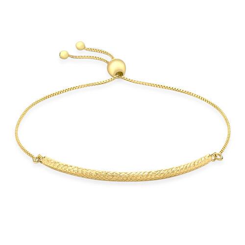 JCK Vegas Collection 9K Yellow Gold Adjustable Diamond Cut Bolo Bracelet (Size 6.5-8)