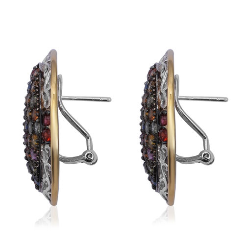 Rainbow Sapphire (Rnd) Earrings (with French Clip) in Two Tone Sterling Silver 7.520  Ct, Silver wt 13.38 Gms