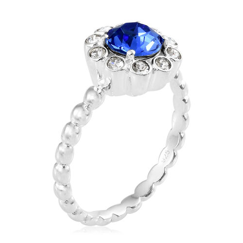 J Francis Crystal from Swarovski - Sapphire Colour Crystal (Rnd), White Crystal Ring in Sterling Silver