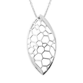 LucyQ Rhodium Overlay Sterling Silver Honeycomb Marquise Pendant With Chain (Size 20), Silver wt 9.5