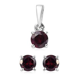 2 Piece Set - Rhodolite Garnet (Rnd) Pendant and Stud Earrings (with Push Back) in Platinum Overlay