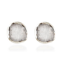 Artisan Crafted Polki Diamond Earrings (with Push Back) in Yellow Gold Overlay Sterling Silver