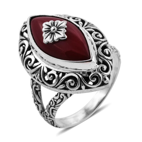 Royal Bali Sponge Coral Solitaire Ring in Sterling Silver 7.75 Grams