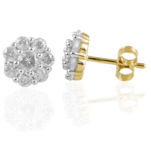 9K Yellow Gold 1 Ct. Diamond (Rnd) Flower Stud Earrings (with Push Back) SGL Certified (I3/ G-H)