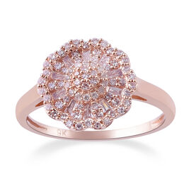 0.50 Carat Natural Pink and White Diamond Cluster Floral Ring in in 9K Rose Gold