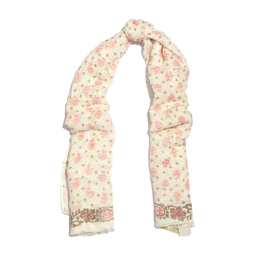 One Time Close Out Deal- Special Edition- Pink and White Colour Handblock Printed Scarf (Size 180x75 Cm)