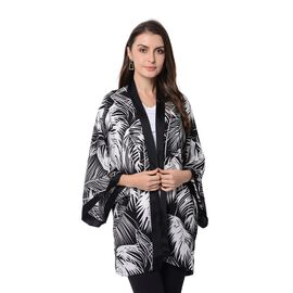 Black and White Colour Leaf Pattern Kimono (Size 80x75 Cm)
