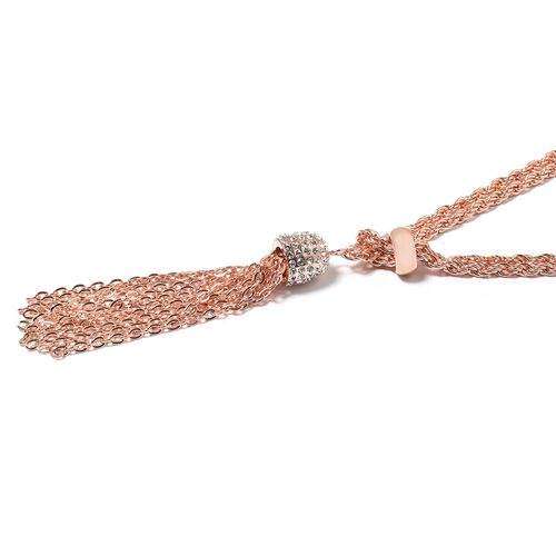 White Austrian Crystal Tassels Necklace (Size 23 to 48) in ION Plated Rose Gold Stainless Steel