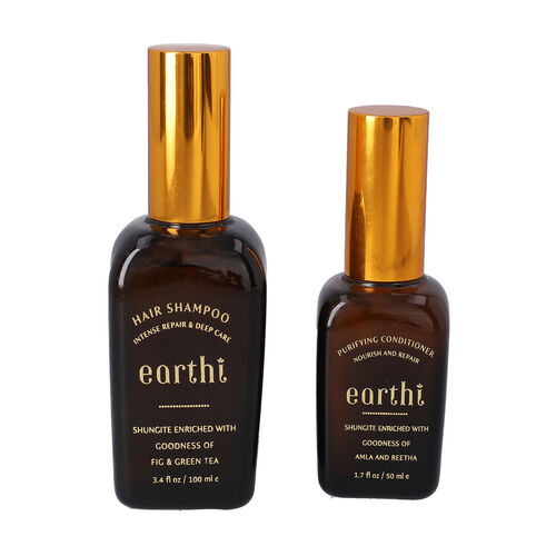 Shungite Enriched Earthi Green Tea and Fig Shampoo  with complementary Amla and Reetha Purifying Hai