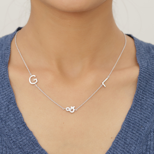 Personalised Two Alphabet + &, Name Necklace in Silver, Size 18+2 Inch