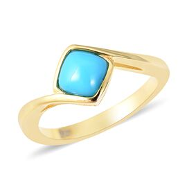 Arizona Sleeping Beauty Turquoise (Cush) Solitaire Ring in Yellow Gold Overlay Sterling Silver 0.835