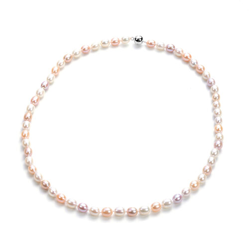 Multi Colour Freshwater Pearl Necklace (Size 20) with Magnetic Lock in Sterling Silver