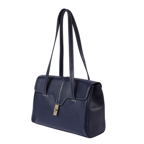 100% Genuine Leather Tote Bag (Size: 34x12x22cm) - Navy Blue