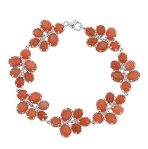 Mitiyagoda Peach Moonstone (Ovl) Bracelet (Size 8) in Sterling Silver 40.000 Ct.
