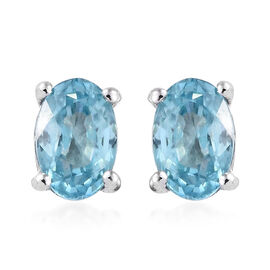 Blue Zircon (Ovl) Stud Earrings (with Push Back) in Platinum Overlay Sterling Silver 1.500 Ct.