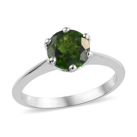 Russian Diopside (1.50 Ct) Platinum Overlay Sterling Silver Ring  1.250  Ct.
