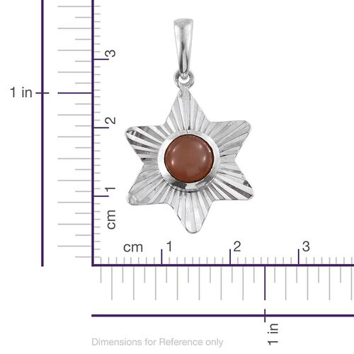 Mitiyagoda Peach Moonstone (Rnd) Solitaire Pendant in Sterling Silver 1.700 Ct.