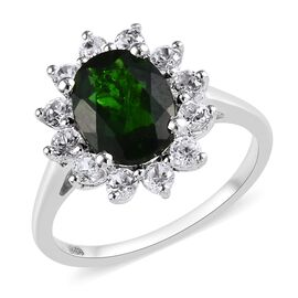 2.75 Ct Russian Diopside and Zircon Floral Halo Ring in Platinum Plated Sterling Silver
