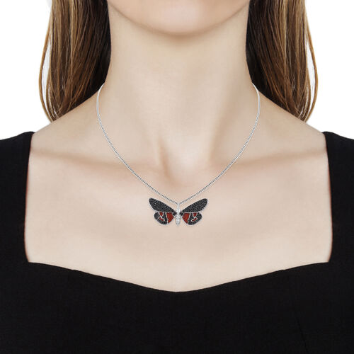 Boi Ploi Black Spinel (Rnd) Enameled Butterfly Pendant With Chain (Size 20) in Platinum and Black Overlay Sterling Silver 1.500 Ct, Silver wt 6.08 Gms.