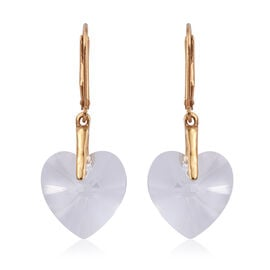 White Colour Crystal From Swarovski Heart Earrings in Gold Plated Sterling Silver