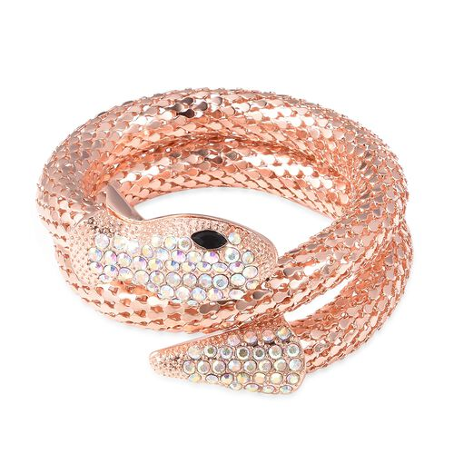 Simulated Mystic White Crystal and Simulated Black Spinel Snake Bracelet (Size 6.5) in Rose Gold Pla