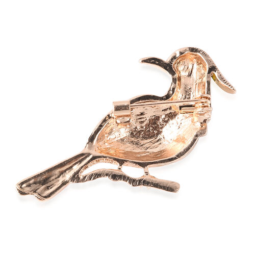 Black and White Austrian Crystal Bird Brooch in Gold Tone