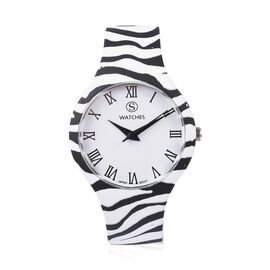Designer Inspired - Japanese Movement Animal Print Stainless Steel Watch - Zebra