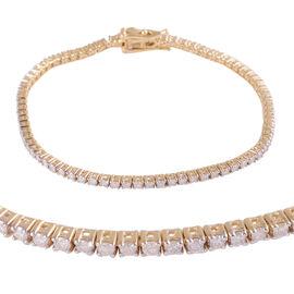 9K Yellow Gold Diamond (Rnd) (I3 / G-H) Bracelet (Size 7.25) 3.0 Ct, Gold wt 9.50 Gms