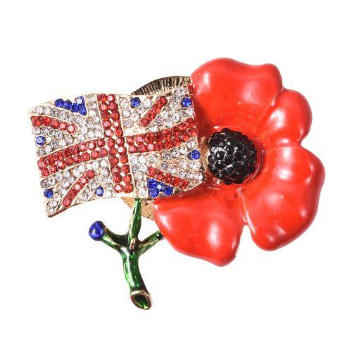 TJC Poppy Design Red and Black Austrian Crystal Poppy Flower Magnetic Brooch