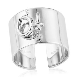 Sundays Child- Charm Collection-  Platinum Overlay Sterling Silver Open Band Charm Ring