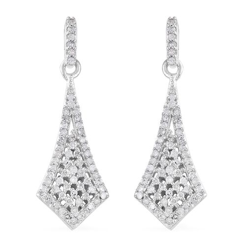 GP Diamond (Rnd), Kanchanaburi Blue Sapphire Earrings (with Push Back) in Platinum Overlay Sterling Silver 0.540 Ct, Number of Diamonds 132.