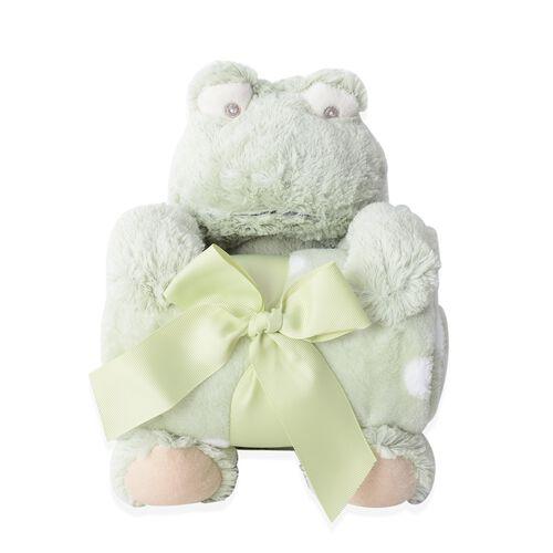2 Pcs Set - Light Green Frog with Supersoft Printed Flannel Blanket (75x100 cm) EN71 Certified