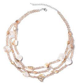 Champagne Colour Beads and Shell Three Row Necklace (Size 20 with 2.5 inch Extender)