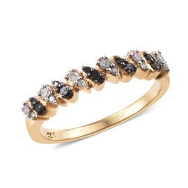 Black and White Diamond (Rnd) Ring in 14K Gold Overlay Sterling Silver 0.205 Ct.