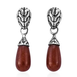 Royal Bali 18.69 Ct Red Jade Solitaire Drop Earrings in Sterling Silver With Push Back